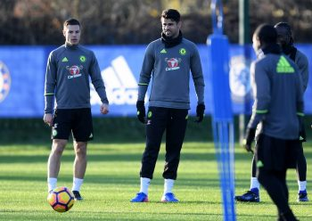 COBHAM, ENGLAND - JANUARY 17: Cesar Azpilicueta and Diego Costa of Chelsea during a training session at Chelsea Training Ground on January 17, 2017 in Cobham, England. (Photo by Darren Walsh/Chelsea FC via Getty Images)
