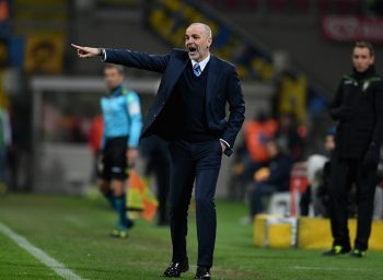 MILAN, ITALY - JANUARY 17:  Head coach FC Internazionale Stefano Pioli reacts during the TIM Cup match between FC Internazionale and Bologna FC at Stadio Giuseppe Meazza on January 17, 2017 in Milan, Italy.  (Photo by Claudio Villa - Inter/Inter via Getty Images)