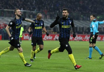 MILAN, ITALY - JANUARY 17:  Antonio Candreva of FC Internazionale celebrates after scoring the third goal during the TIM Cup match between FC Internazionale and Bologna FC at Stadio Giuseppe Meazza on January 17, 2017 in Milan, Italy.  (Photo by Marco Luzzani - Inter/Inter via Getty Images)