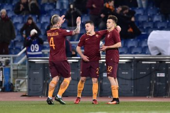 Stephan El Shaarawy of Roma celebrates scoring third goal during the TIM Cup match between AS Roma and UC Sampdoria at Stadio Olimpico on January 19, 2017 in Rome, Italy (Photo by Giuseppe Maffia/NurPhoto via Getty Images)