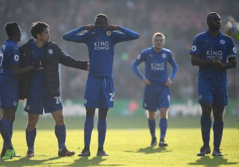 SOUTHAMPTON, ENGLAND - JANUARY 22: (L to R) Demarai Gray, Shinji Okazaki, Wilfred Ndidi Wes Morgan of Leicester City applaud away supporters after his team's defeat in the Premier League match between Southampton and Leicester City at St Mary's Stadium on January 22, 2017 in Southampton, England.  (Photo by Mike Hewitt/Getty Images)