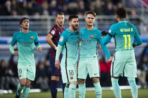 EIBAR, SPAIN - JANUARY 22:  Denis Suarez of FC Barcelona celebrates with his teammate Lionel Messi and Neymar Jr. of FC Barcelona after scoring the opening goal during the La Liga match between SD Eibar and FC Barcelona at Ipurua Municipal Stadium on January 22, 2017 in Eibar, Spain.  (Photo by Juan Manuel Serrano Arce/Getty Images)