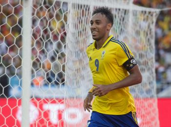 LIBREVILLE, GABON - JANUARY 14: PIERRE EMERICK EMILIANO FRANCOIS AUBAMEYANG of Gabon celebrates his goal during the Group A match between Gabon v Guinea-Bissau at Stade de L'Amitie on January 14, 2017 in Libreville, Gabon. (Photo by Visionhaus/Corbis via Getty Images)
