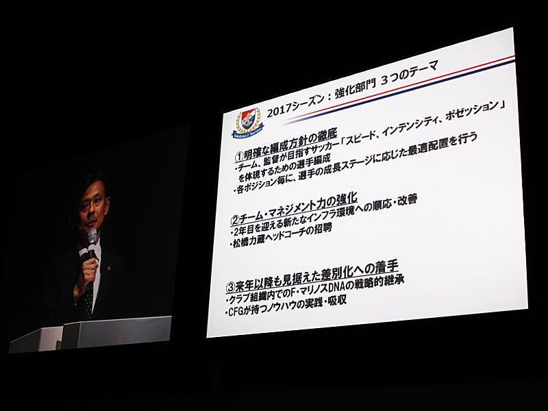 チーム統括本部長の利重氏が強化方針を説明