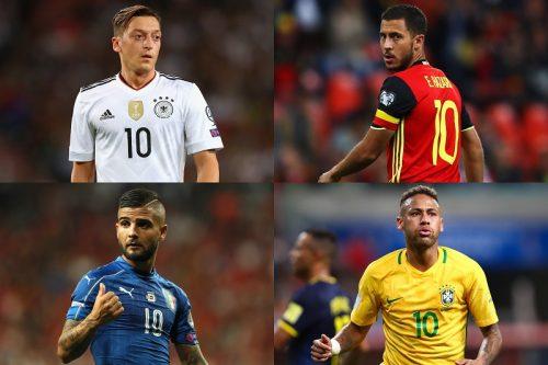 ●熱戦続くロシアW杯予選…世界各国の代表チーム、今の背番号「10」は誰?